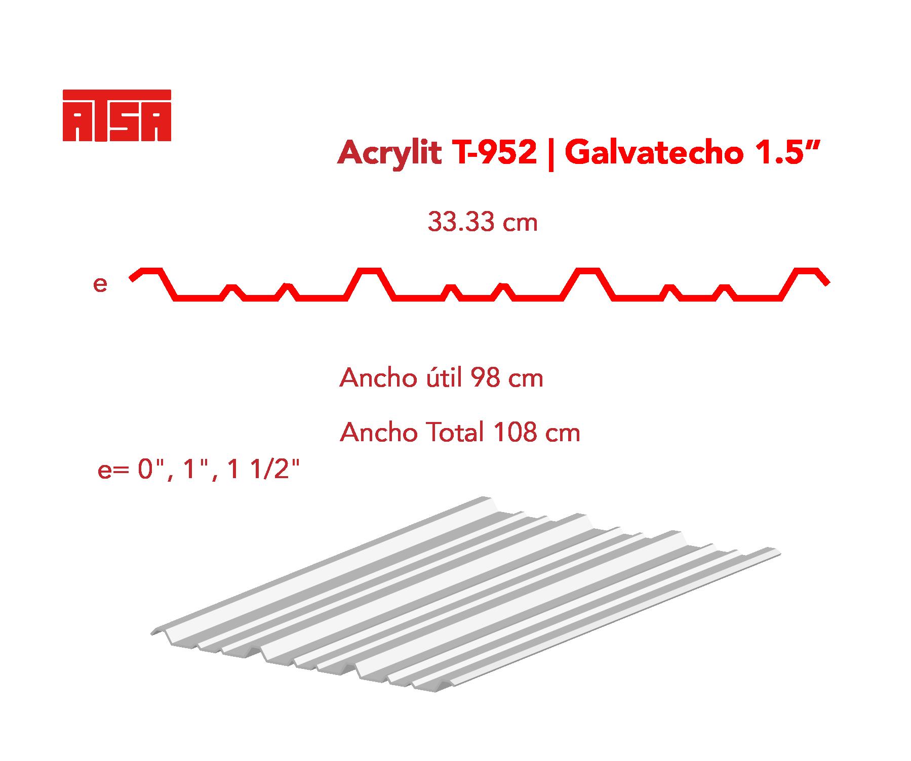 Medidas de la lámina acrylit y-952 traslúcida